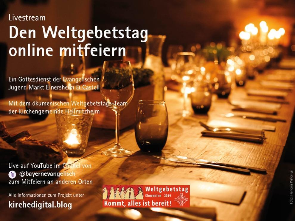 Das Foto zeigt eine gedeckte Festtafel im Kerzen und es lädt ein zzum weltweit ersten interaktiven Livestream des Weltgebetstags, Die Foto-Gestaltung ist von der ELKB