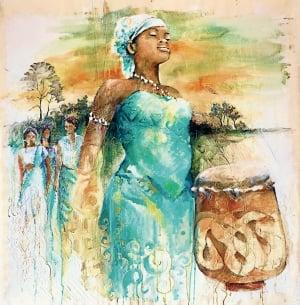Titelbild zum Weltgebetstag 2018 mit Bildtitel Gran tangi gi Mama Aisa, Sri Irodikromo, © Weltgebetstag der Frauen – Deutsches Komitee e.V.